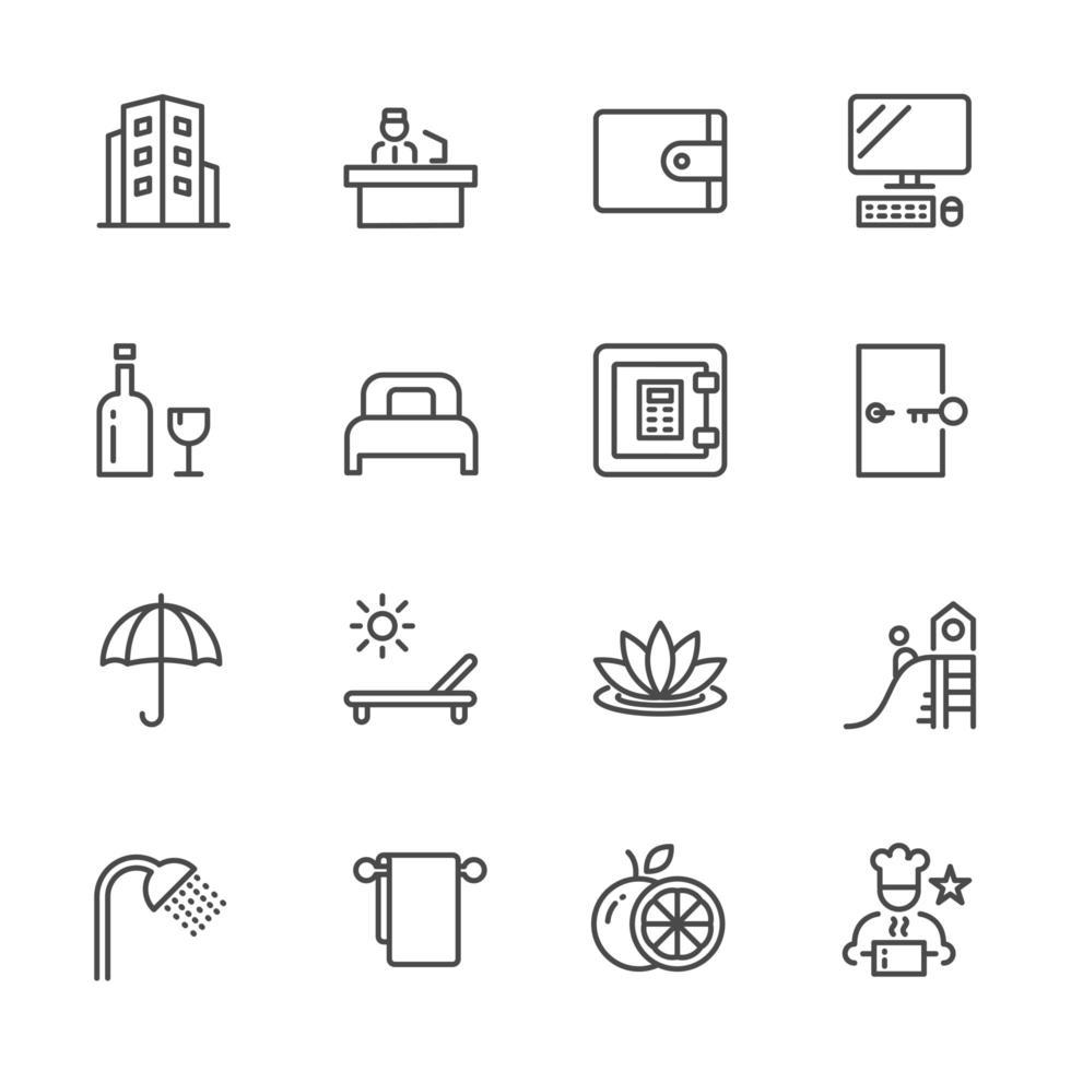 set di icone di servizi alberghieri vettore