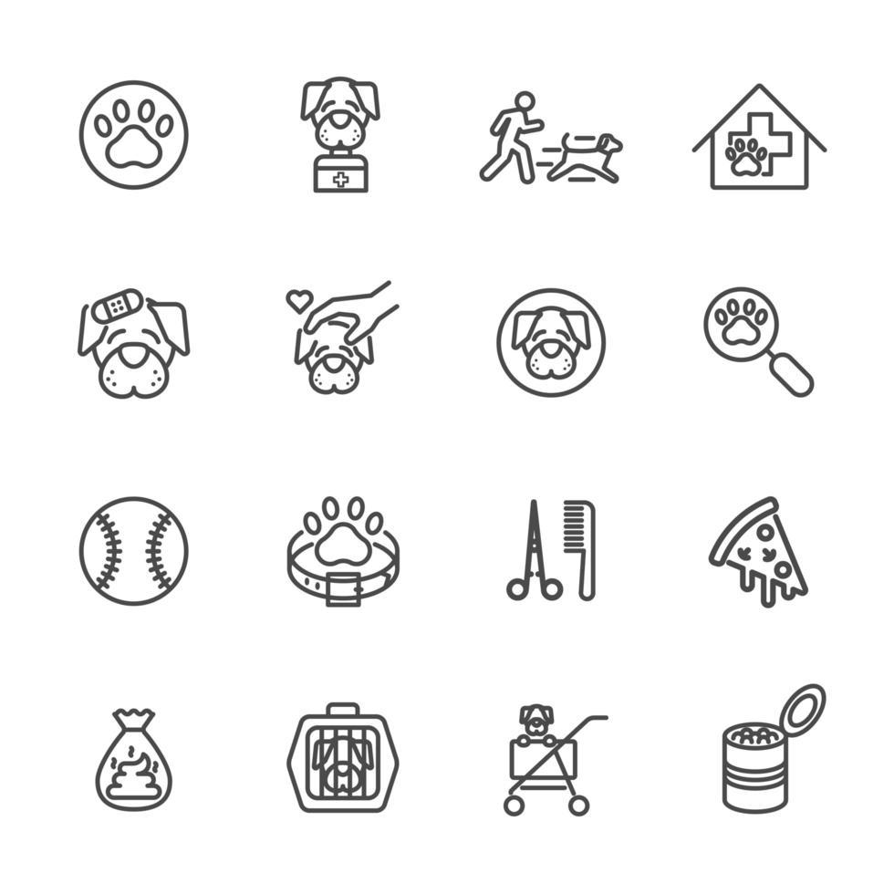 set di icone proprietario cane e animale domestico vettore
