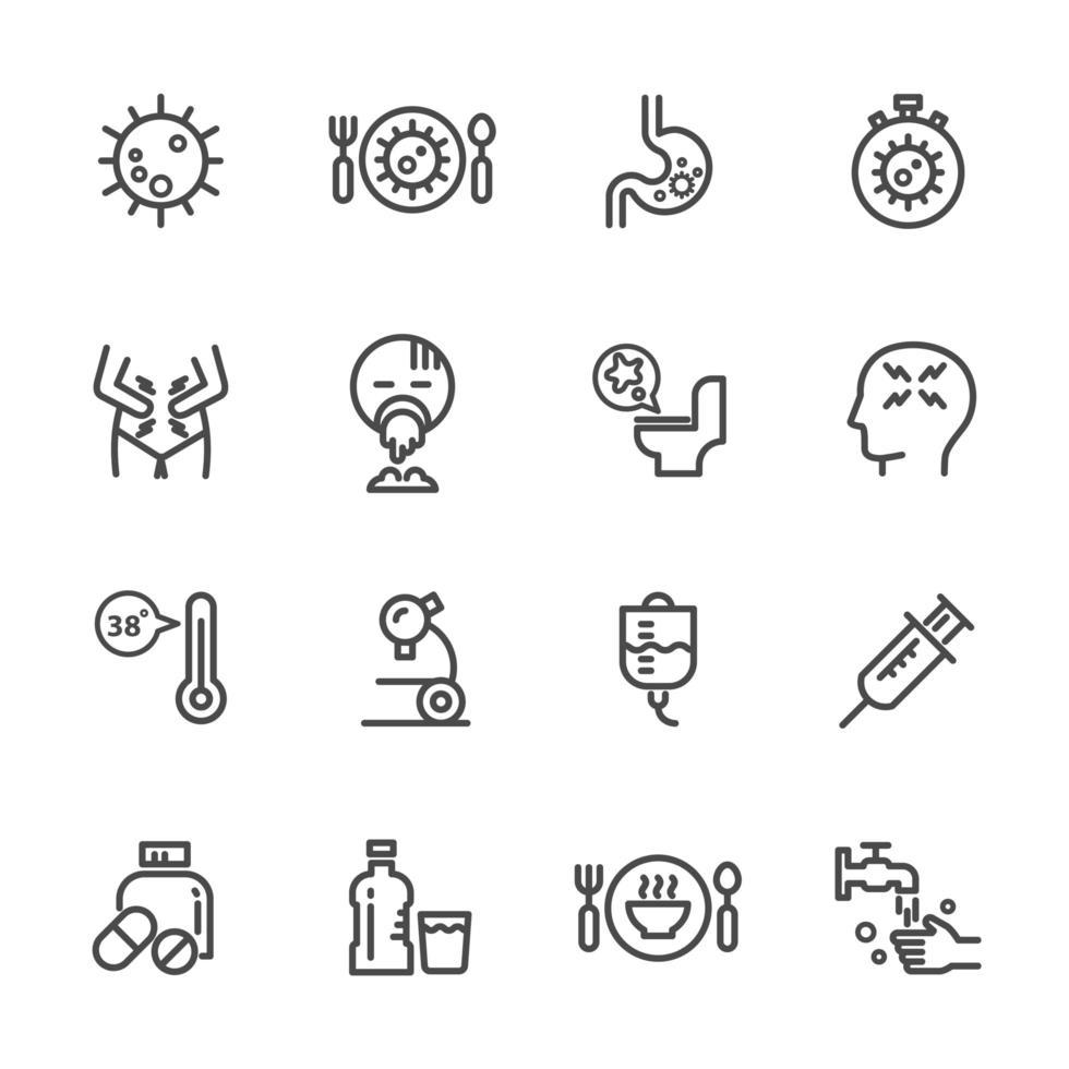 cause e sintomi del set di icone di infezione da norovirus vettore