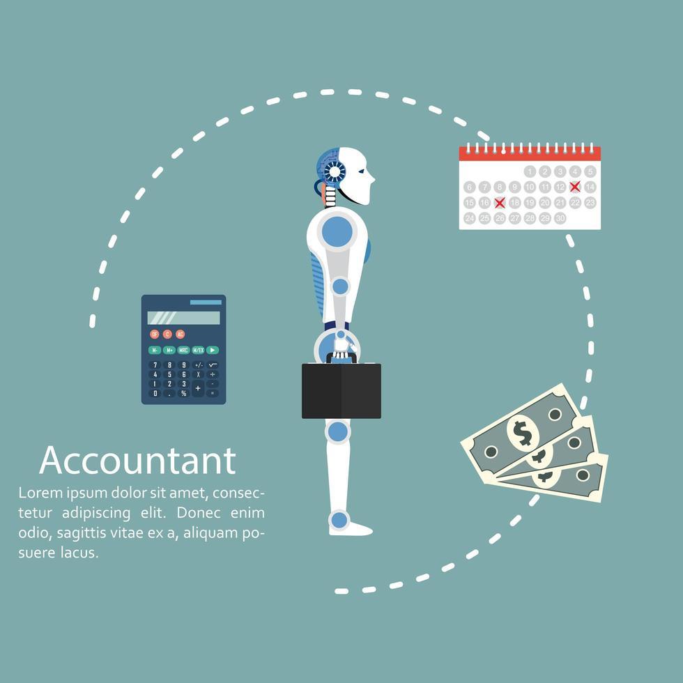 ragioniere cyborg. concetto di calcolo e contabilità. vettore