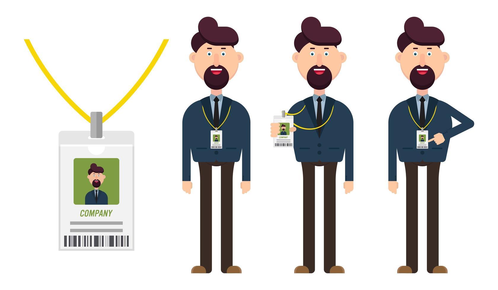 operaio aziendale con badge vettore