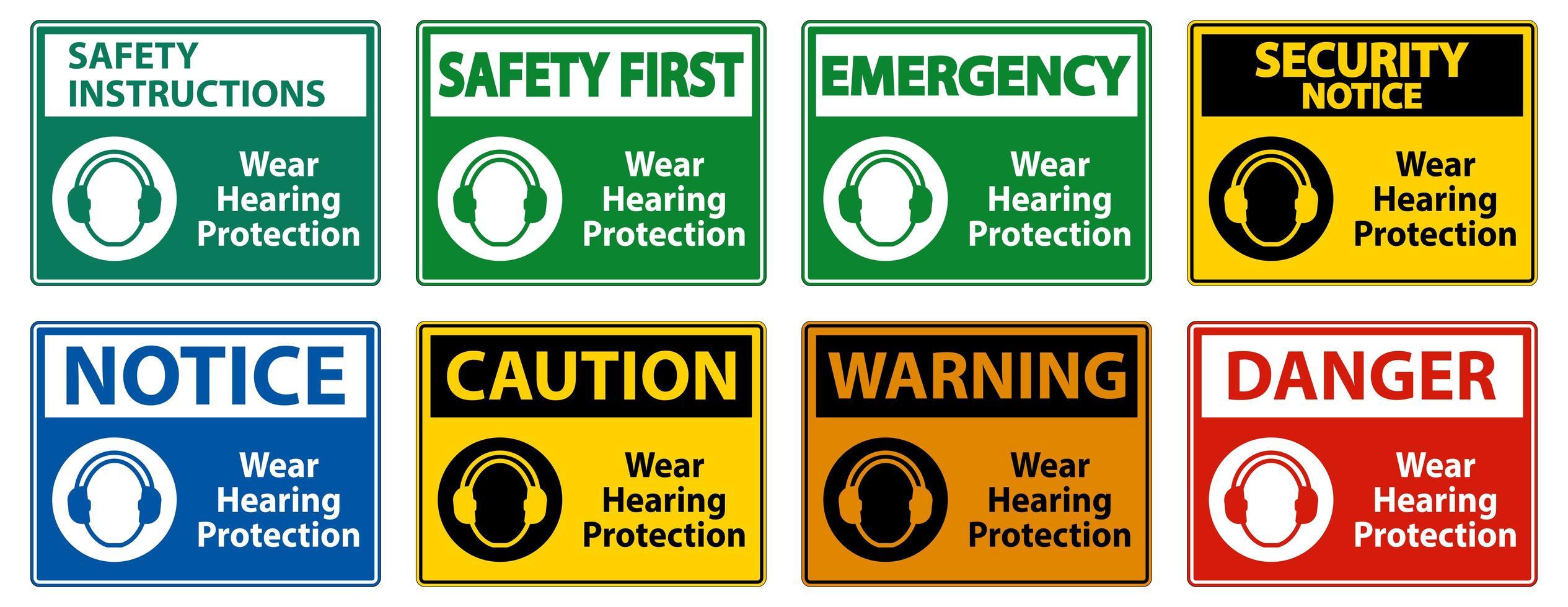 indossare segnali di protezione dell'udito vettore