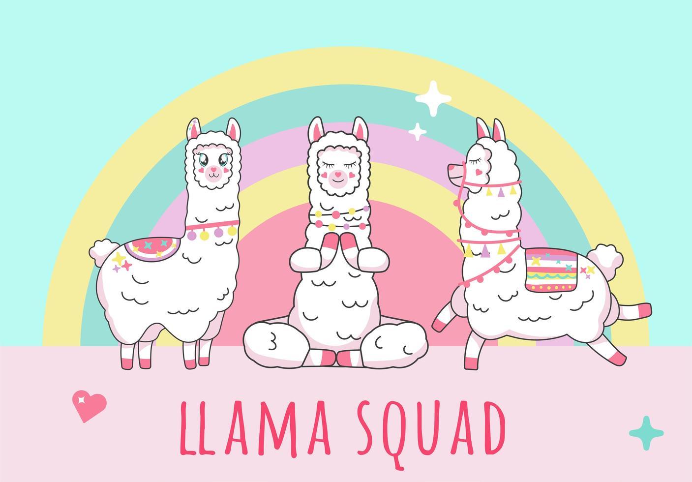squadra di iscrizione alpaca lama sulla squadra di unicorno vettore
