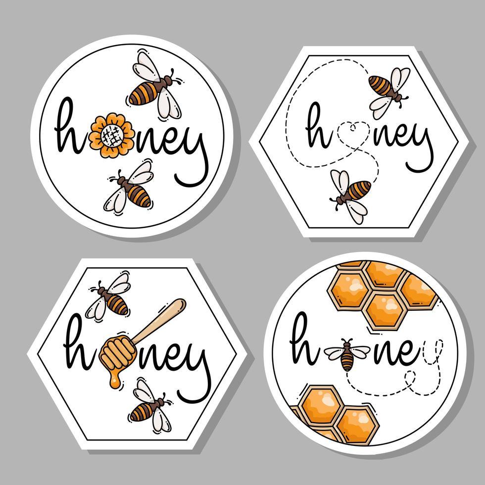 collezione di icone di etichette di miele vettore