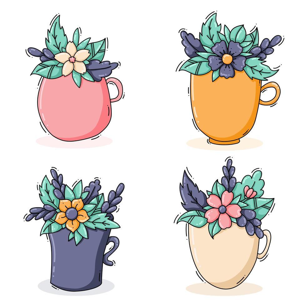 collezione di tazze con fiori vettore