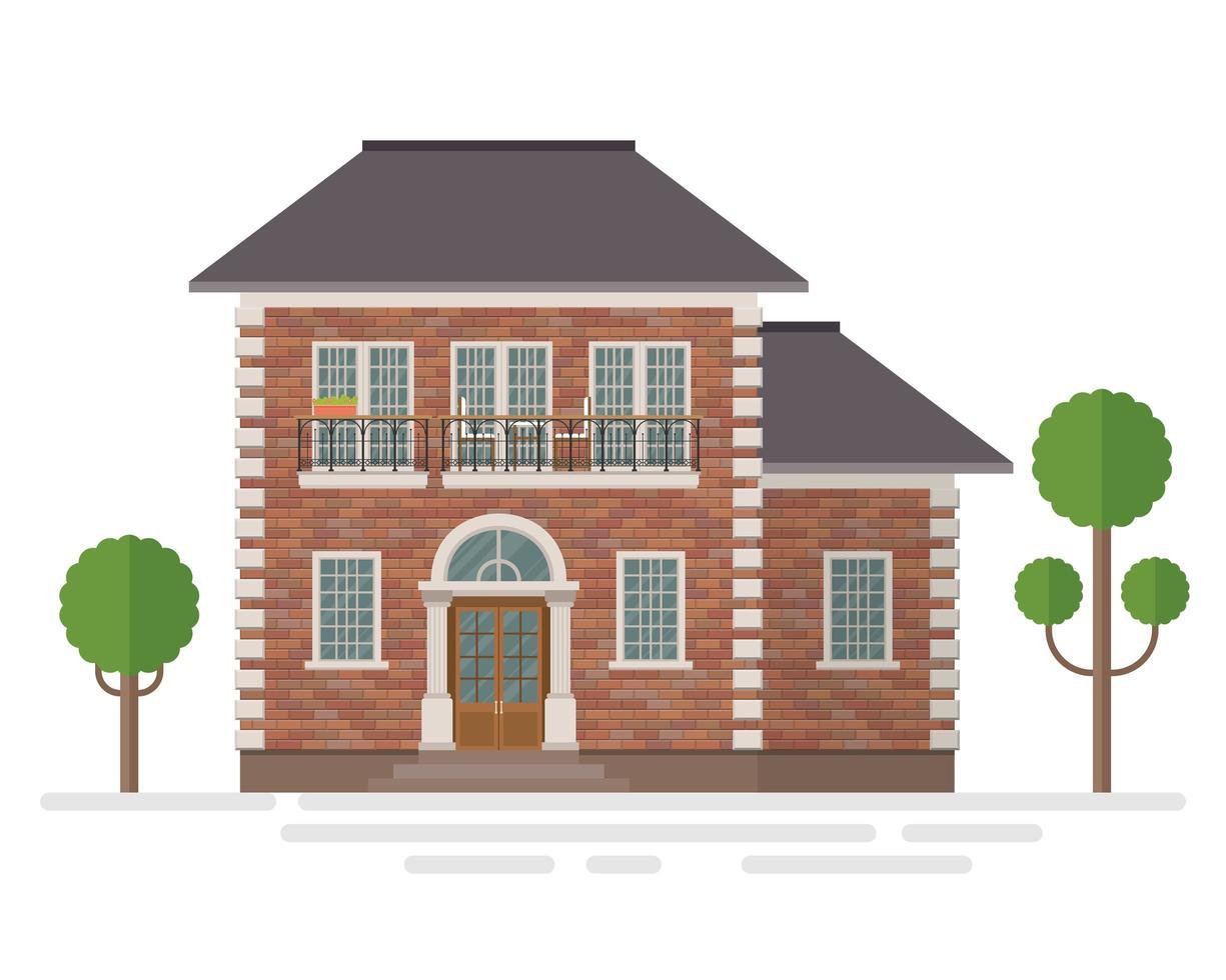 illustrazione vettoriale di costruzione casa suburbana isolato su priorità bassa bianca