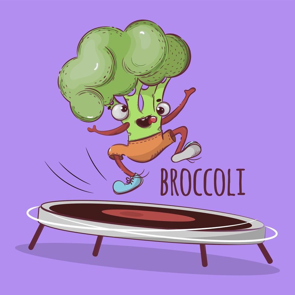 broccoli sport saltando vettore