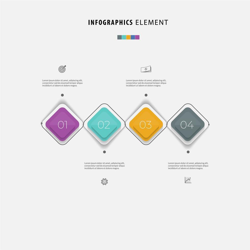 modello di infografica aziendale colorato in quattro passaggi vettore