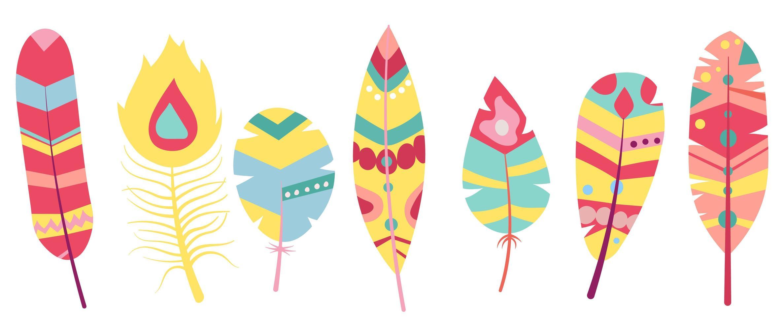 piume tribali in menta, corallo, blu marino, giallo vettore