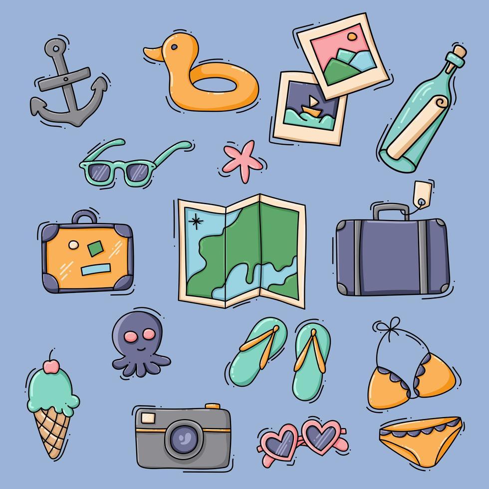 set di articoli per viaggi e vacanze vettore