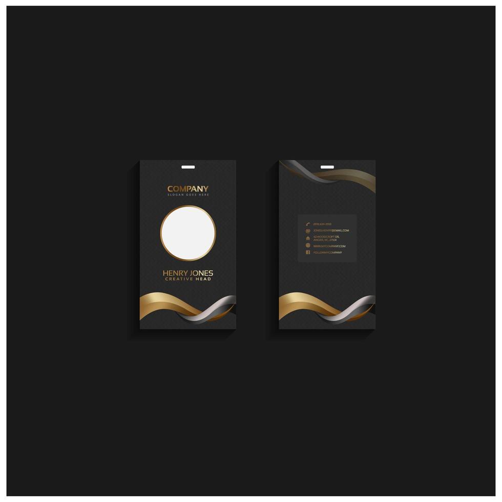 elegante modello di carta d'identità o biglietto da visita nero, oro vettore