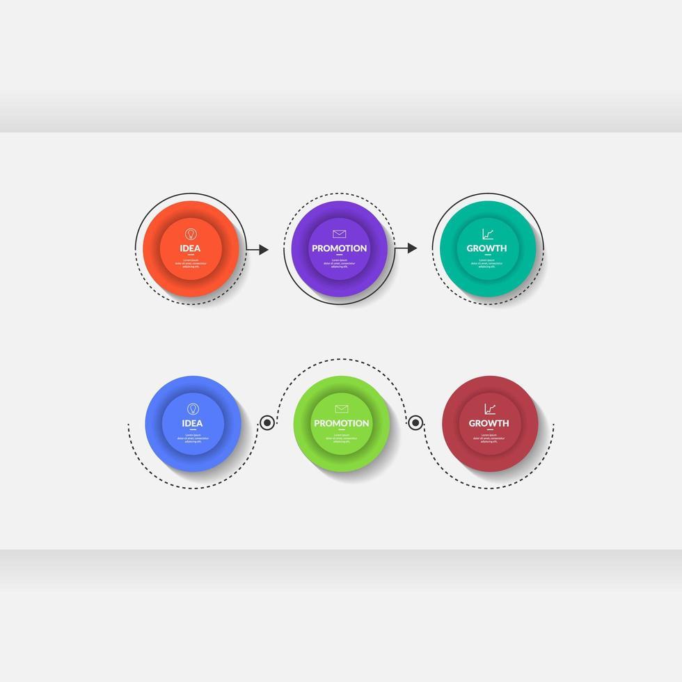 modello di infografica aziendale in tre passaggi vettore