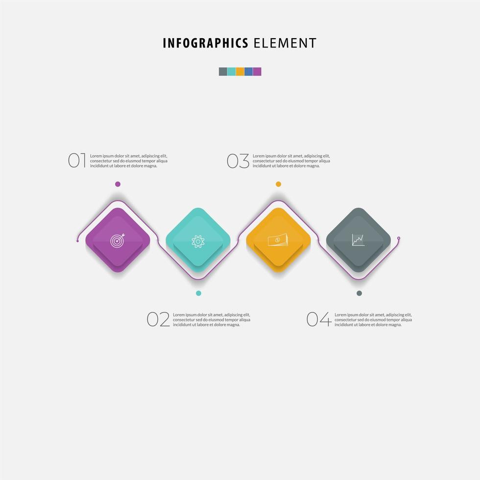 quattro passaggi timeline business colorato infografica vettore