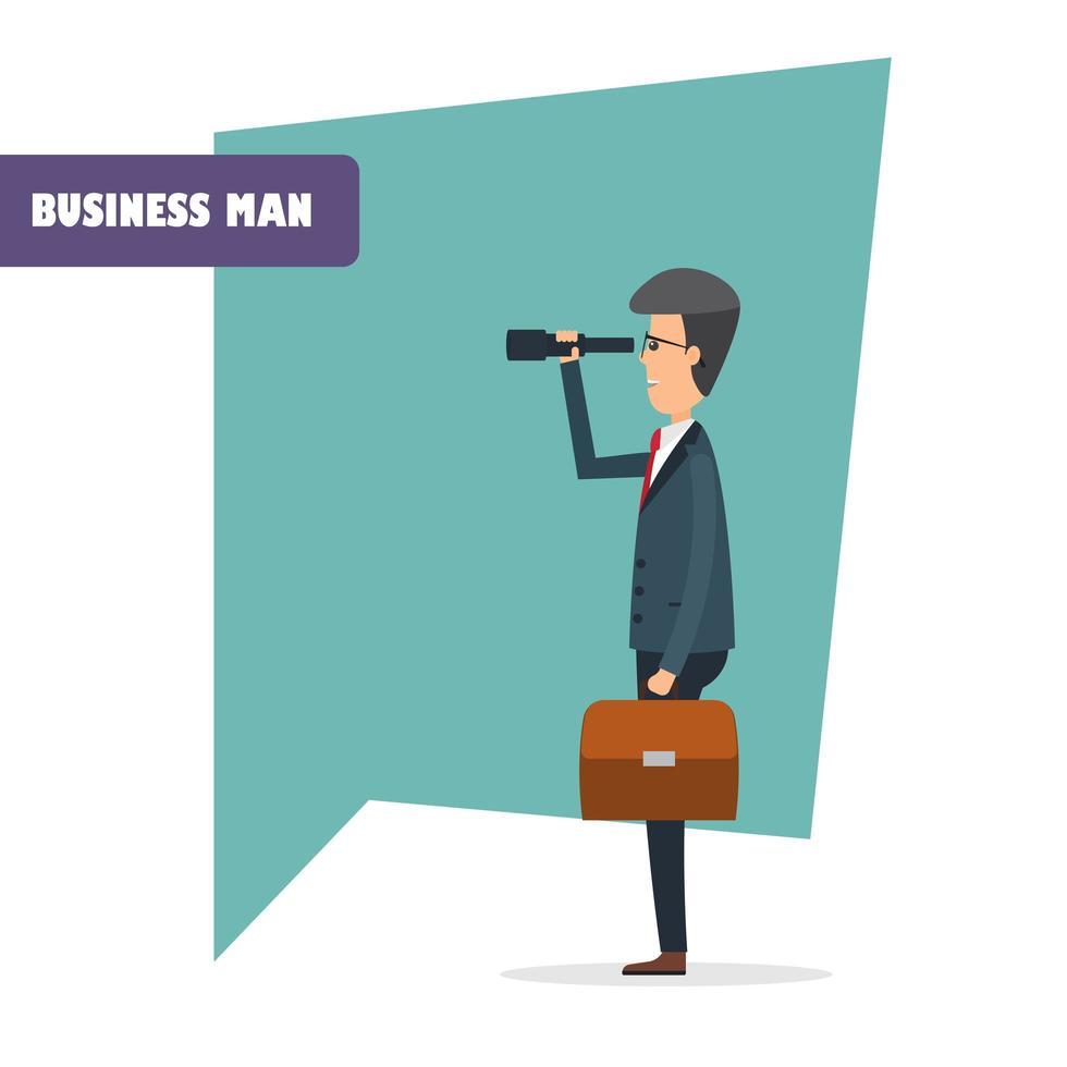 carattere dell'uomo d'affari con il binocolo vettore