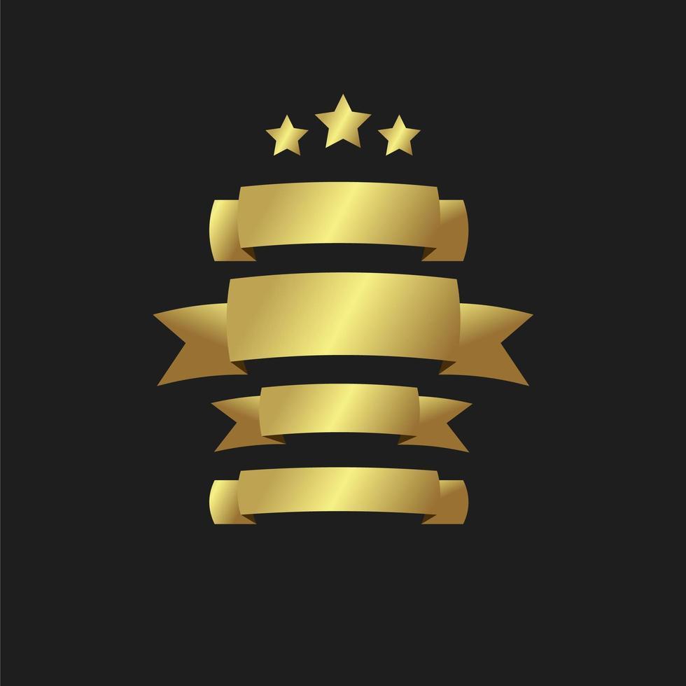 nastri di bandiere d'oro impostati vettore