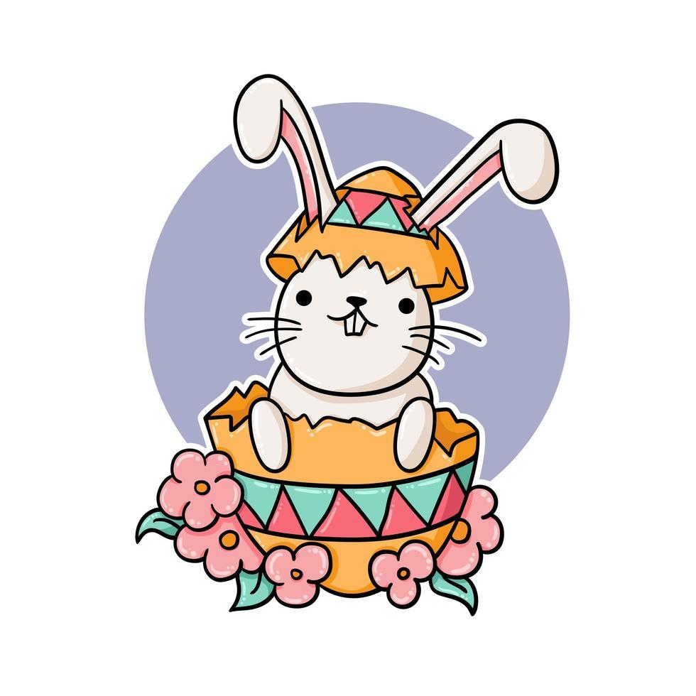 coniglio divertente dentro un uovo di Pasqua vettore