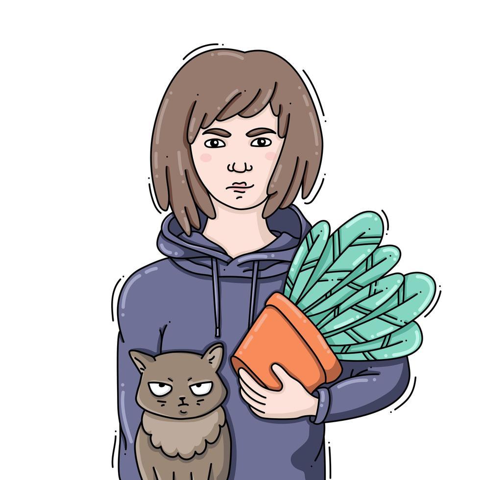 giovane donna che tiene una pianta in vaso con un gatto divertente vettore