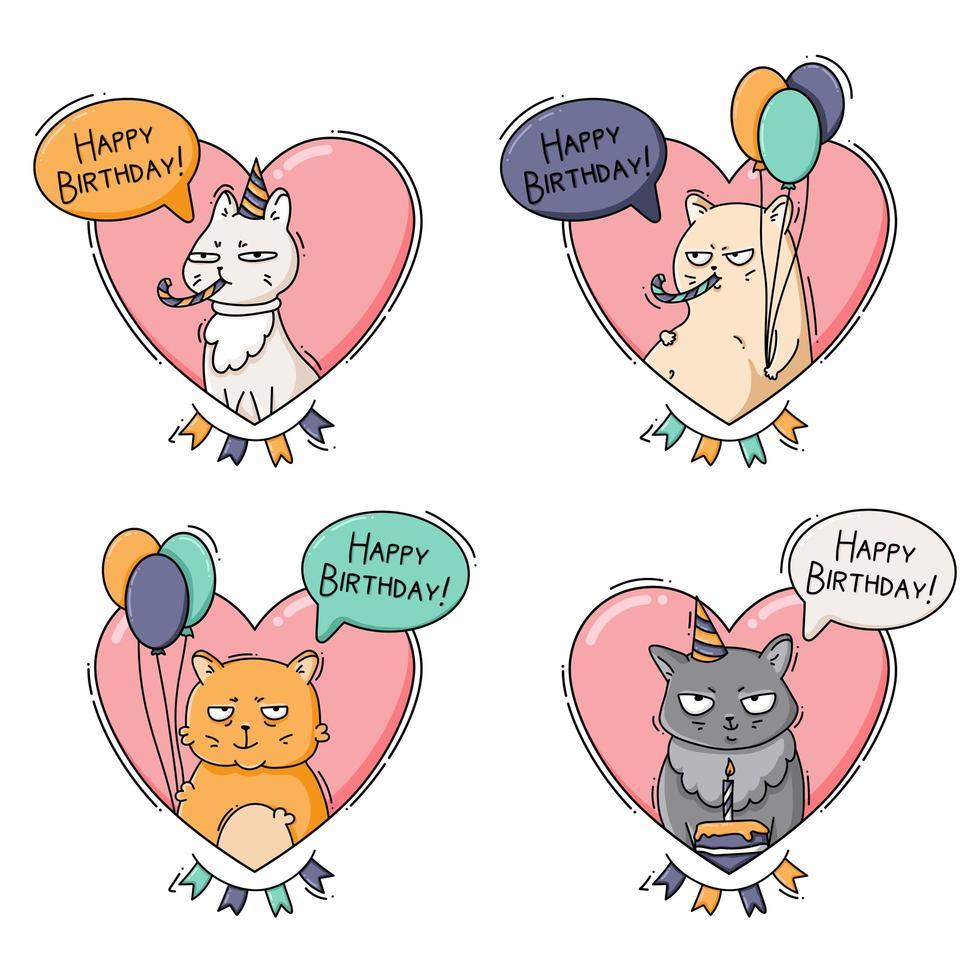 set di icone di compleanno con gatti divertenti vettore