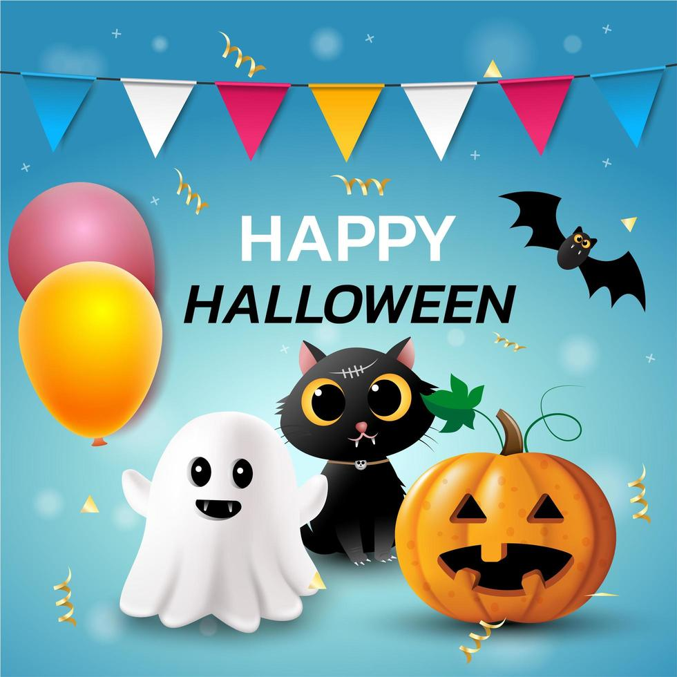 felice sfondo di banner di halloween vettore