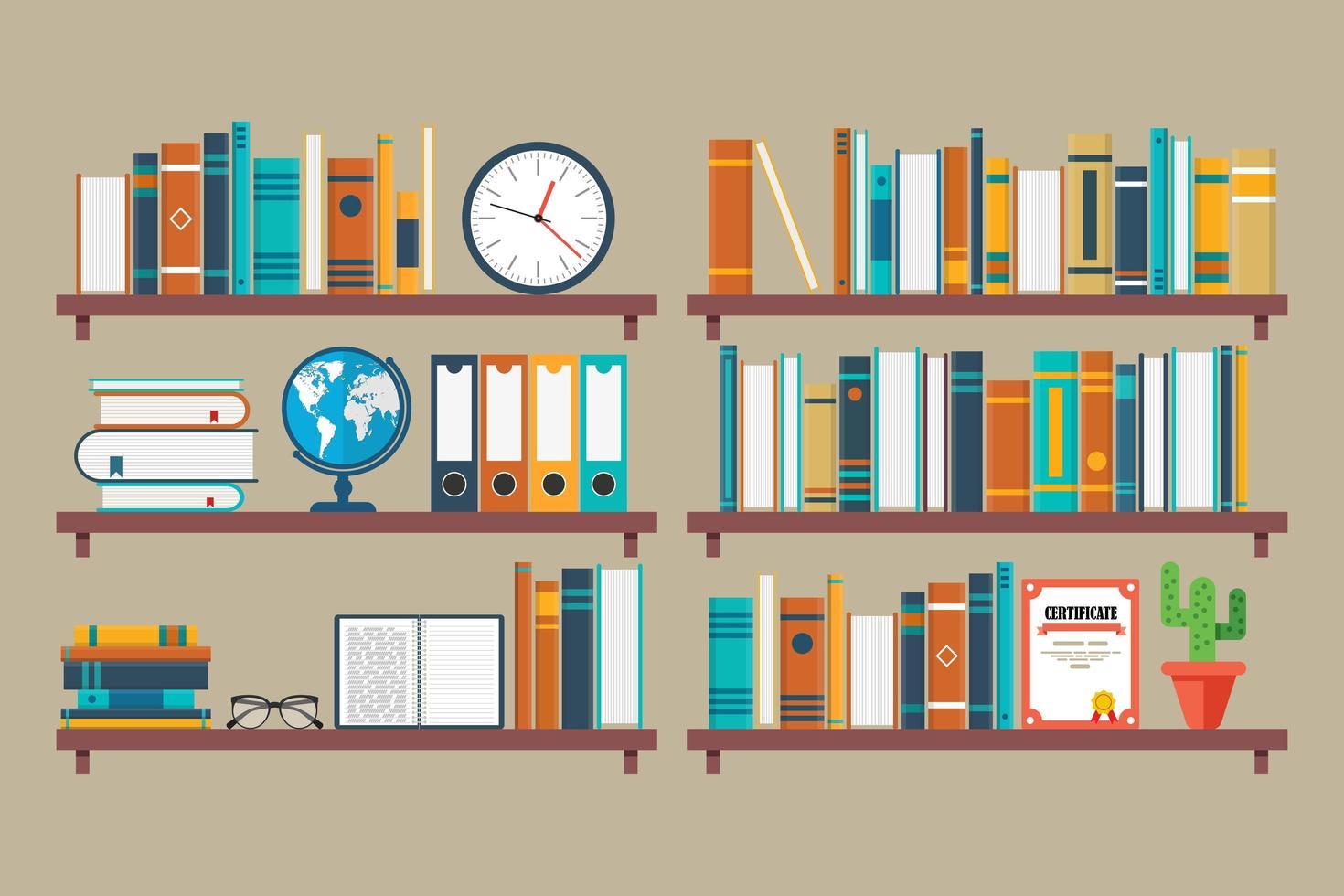 libri, globo e orologio sugli scaffali vettore