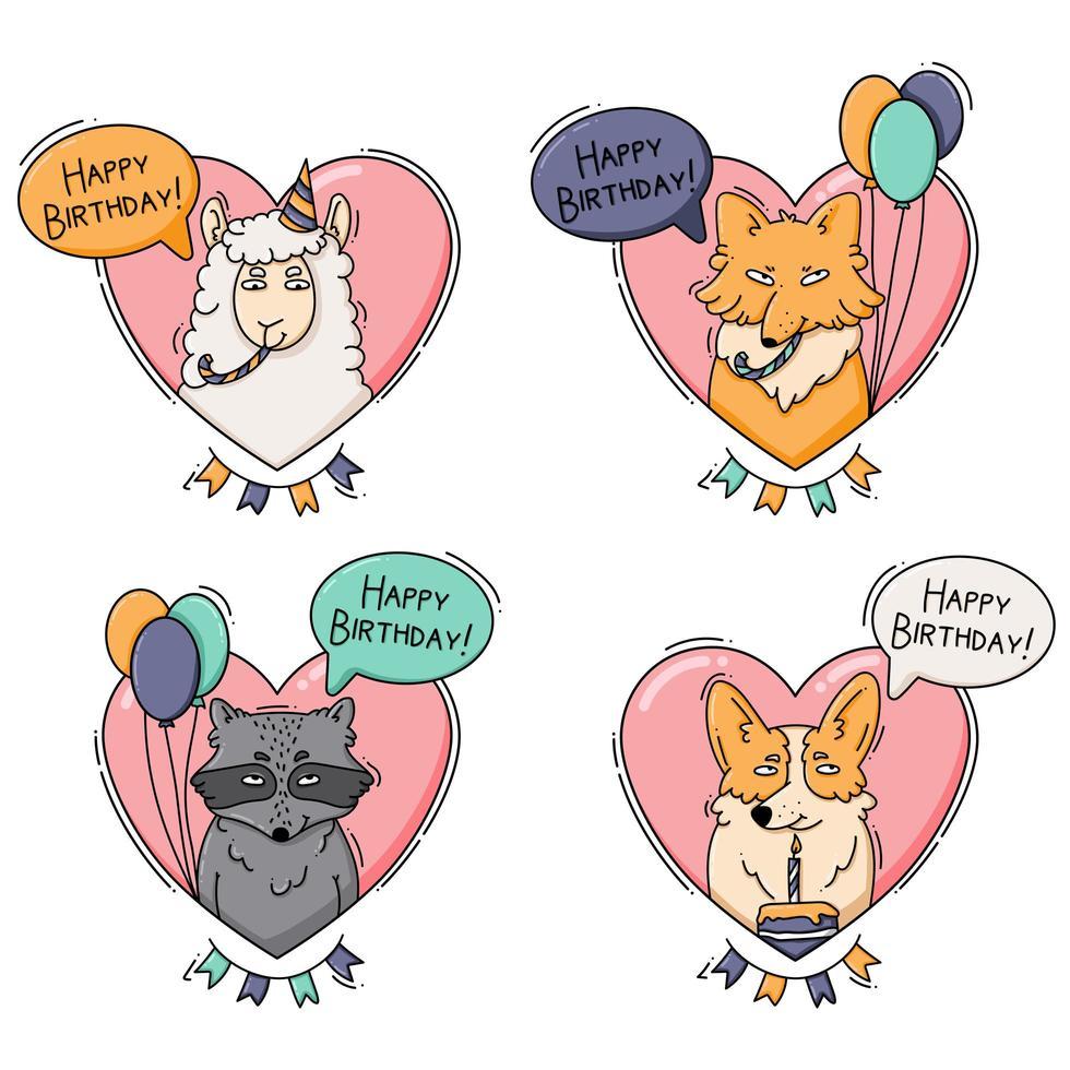 set di icone di compleanno con animali e cuori vettore