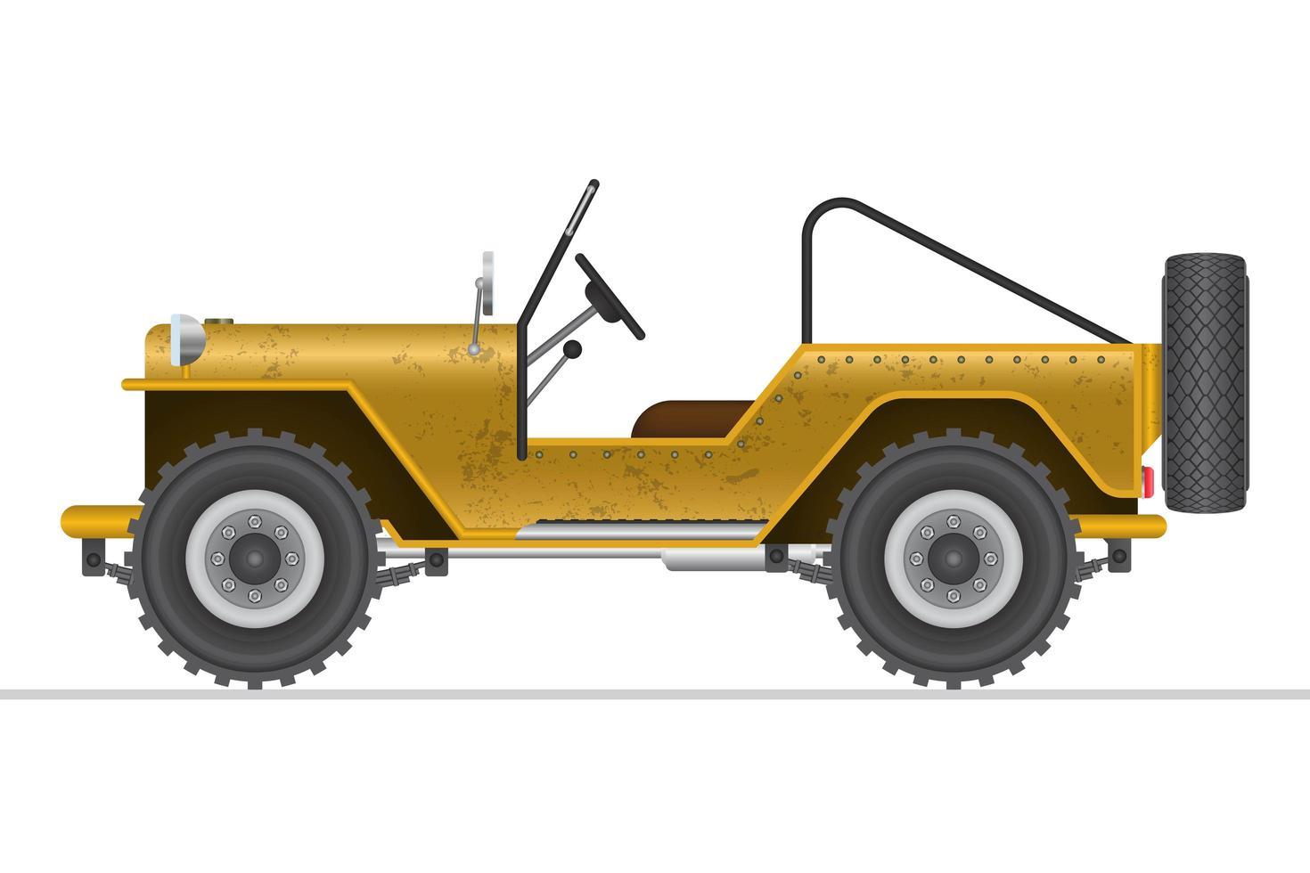 giallo militare fuoristrada auto isolata vettore