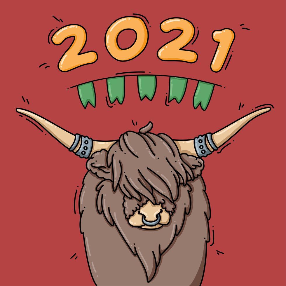 simbolo dell'anno 2021 del bue vettore