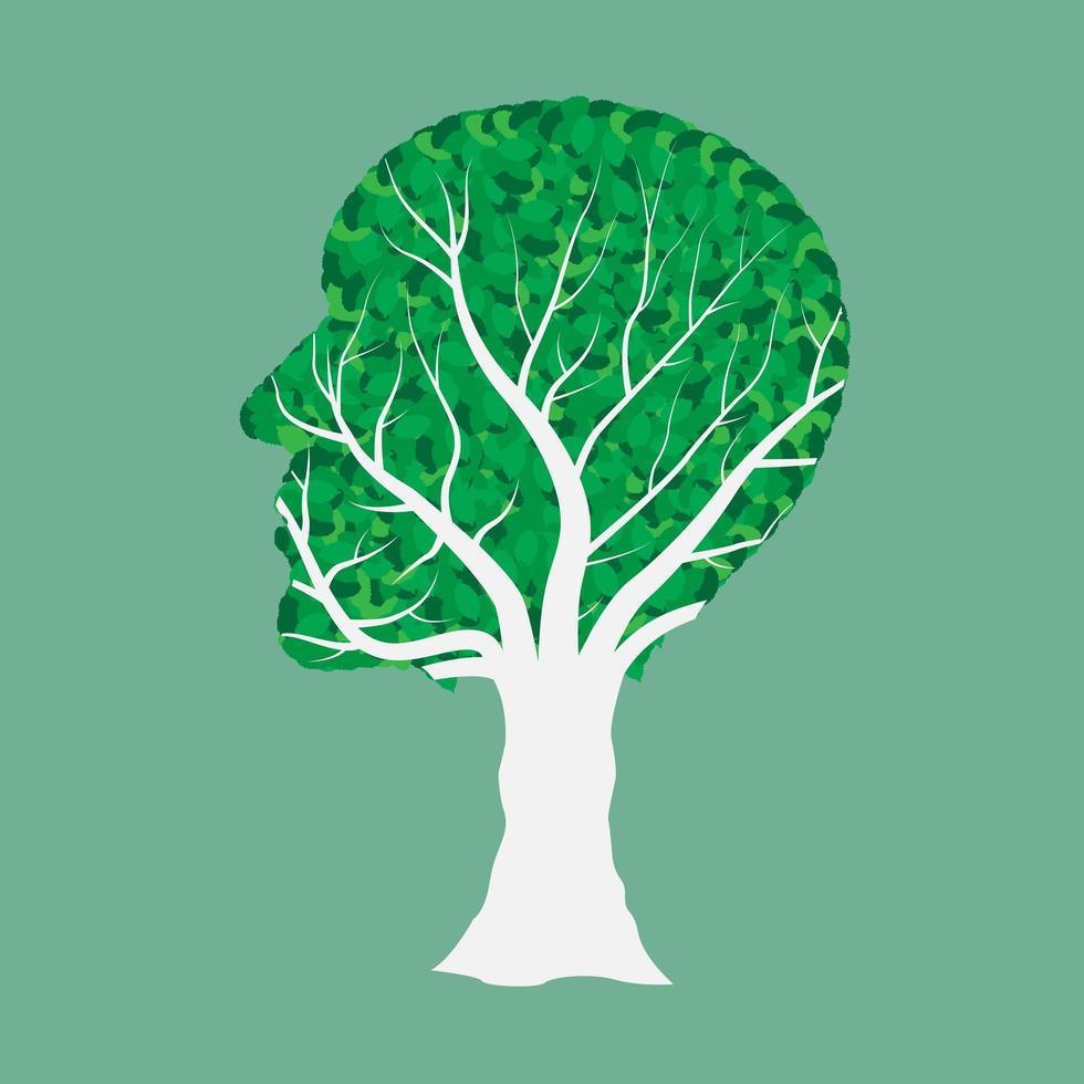 albero testa umana isolato su verde vettore