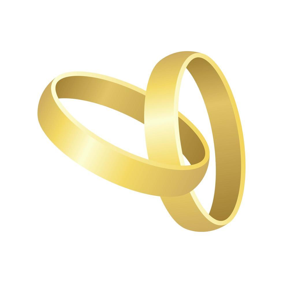 due anelli di nozze isolati vettore