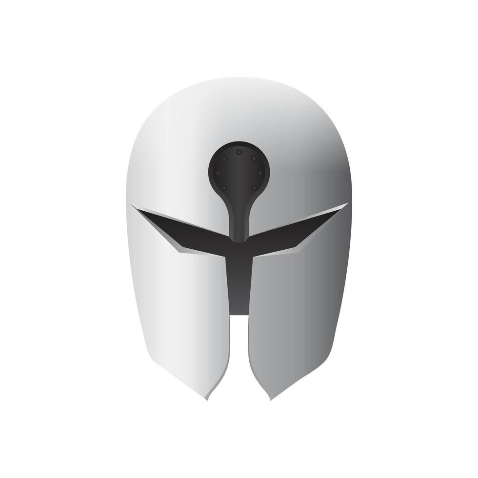 casco di ferro medievale isolato vettore