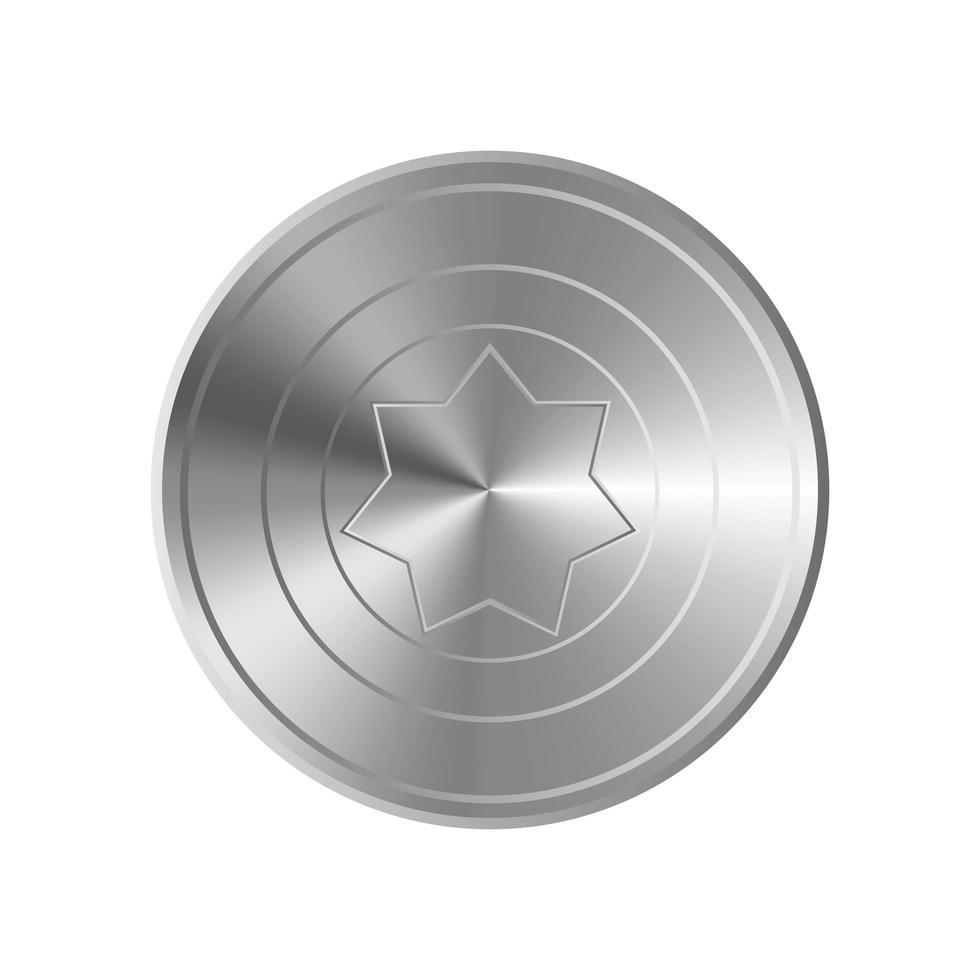 scudo d'argento isolato su sfondo bianco vettore