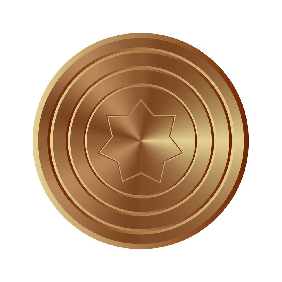 scudo d'oro isolato vettore