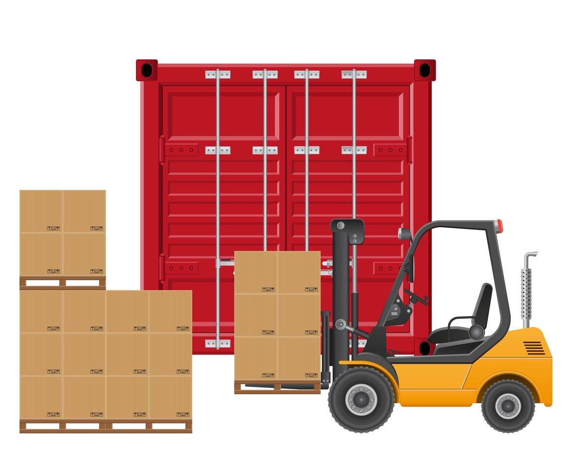 carrello elevatore giallo carico container vettore