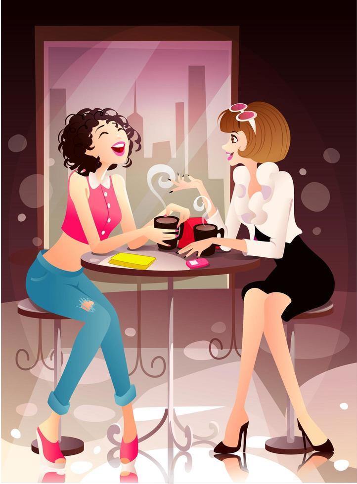 donne che si divertono in una caffetteria vettore
