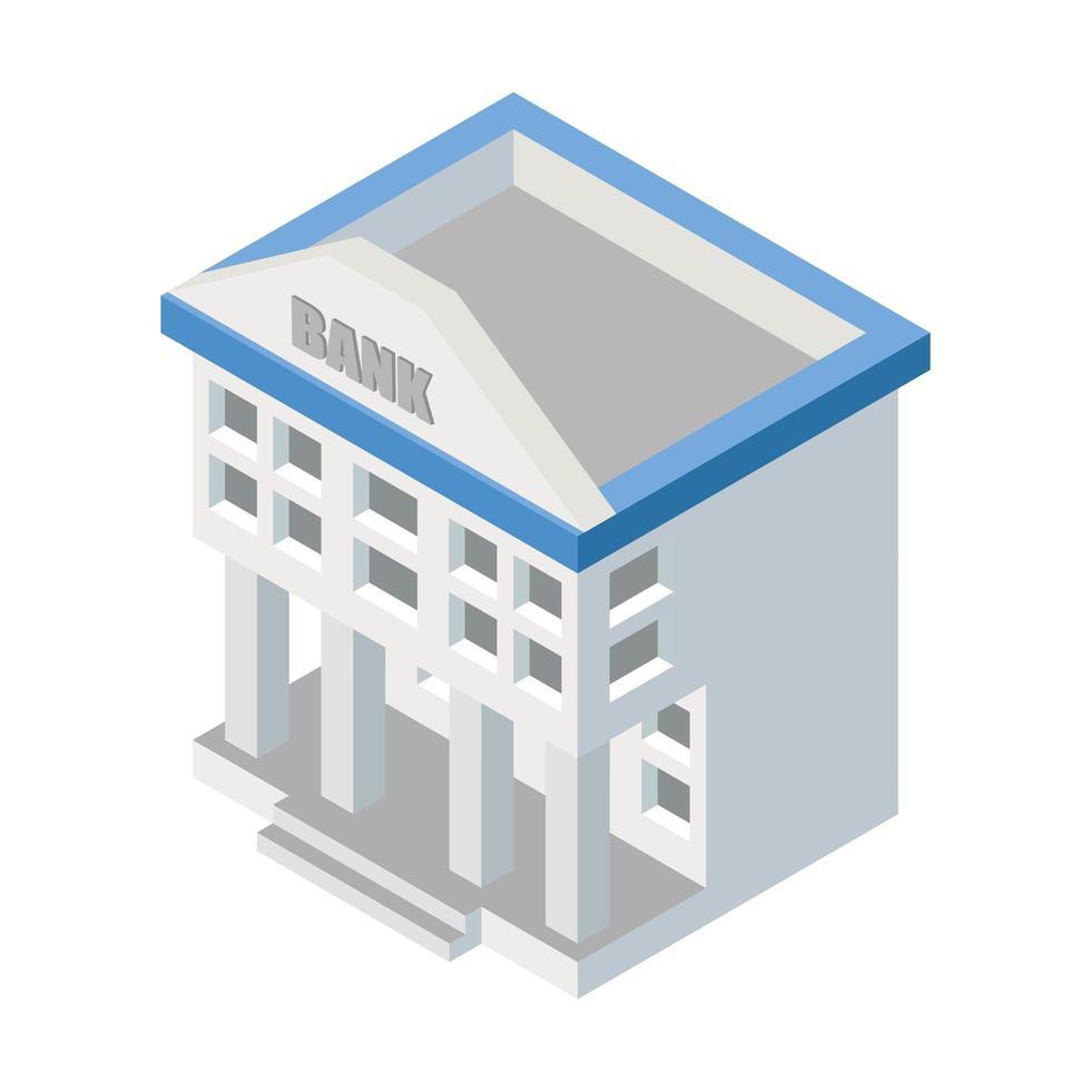 edificio banca isometrica bianco isolato vettore