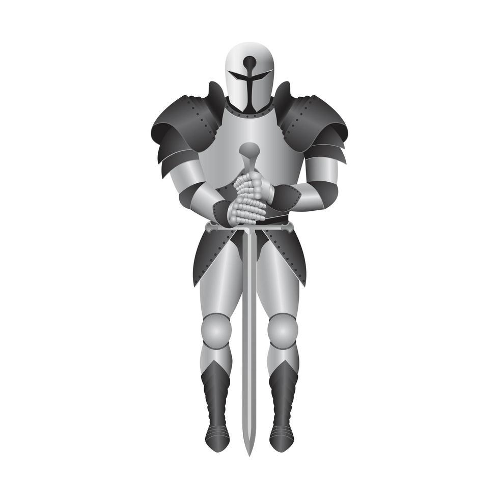 armatura di cavaliere in metallo isolata vettore