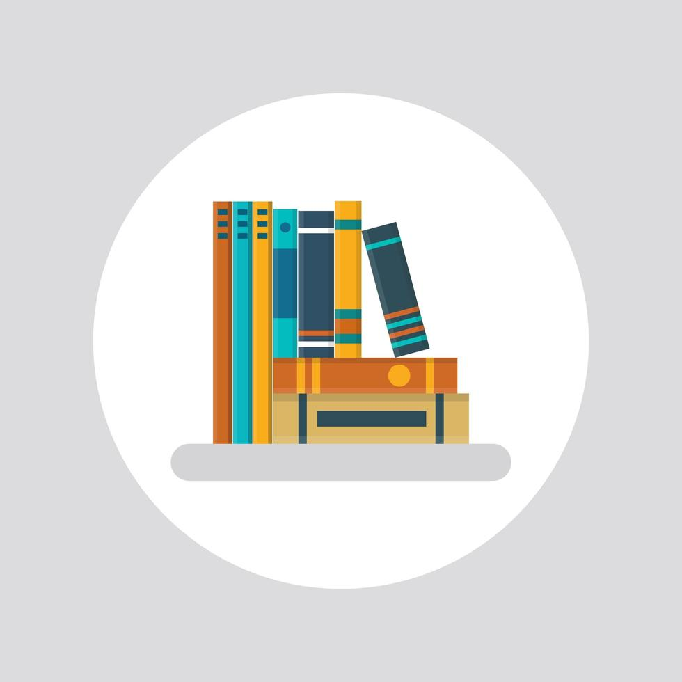 libri su uno scaffale grigio in stile piatto vettore