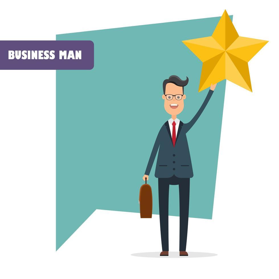 carattere dell'uomo d'affari che tiene una stella vettore