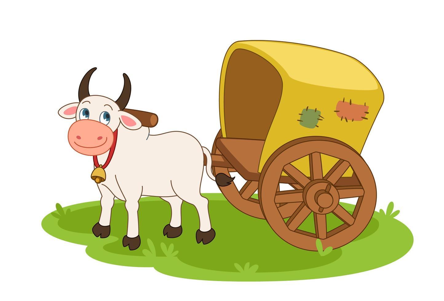mucca con carro trainato da buoi vettore