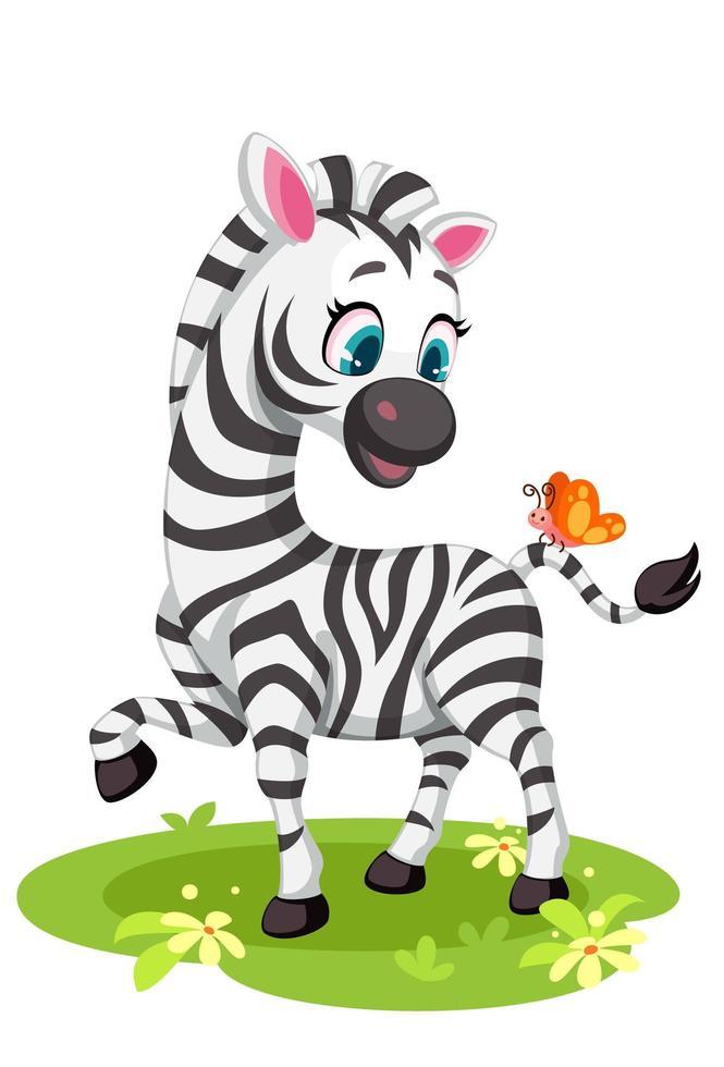 baby zebra con farfalla vettore