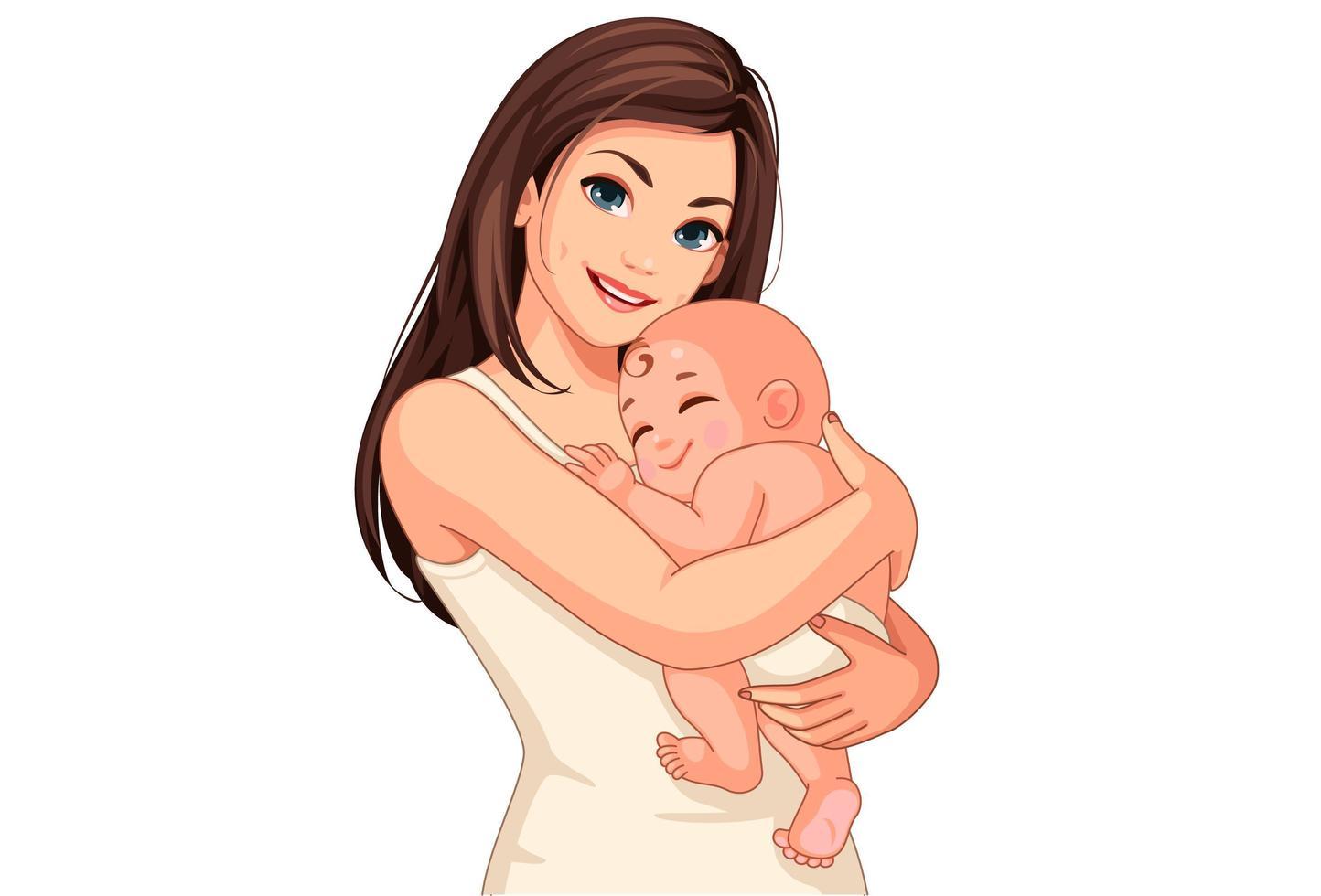 felice giovane madre che tiene un bambino vettore