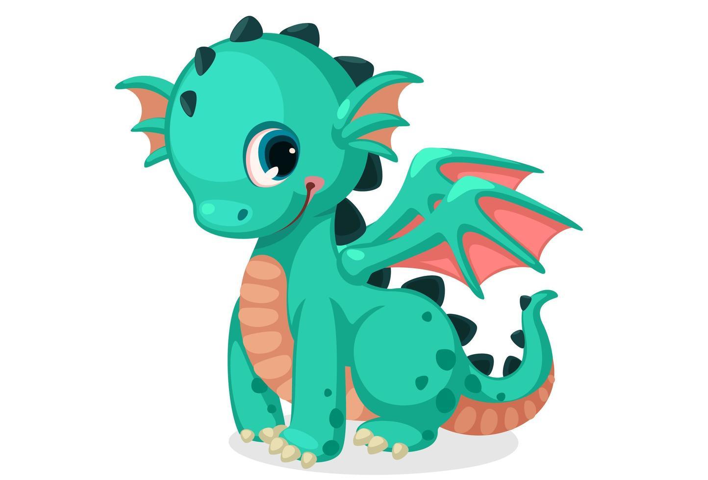 simpatico cucciolo di drago verde vettore