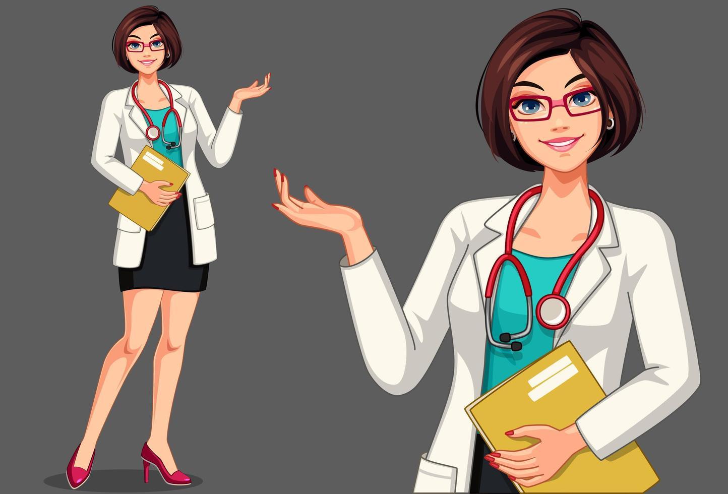 dottoressa in possesso di un set di appunti vettore