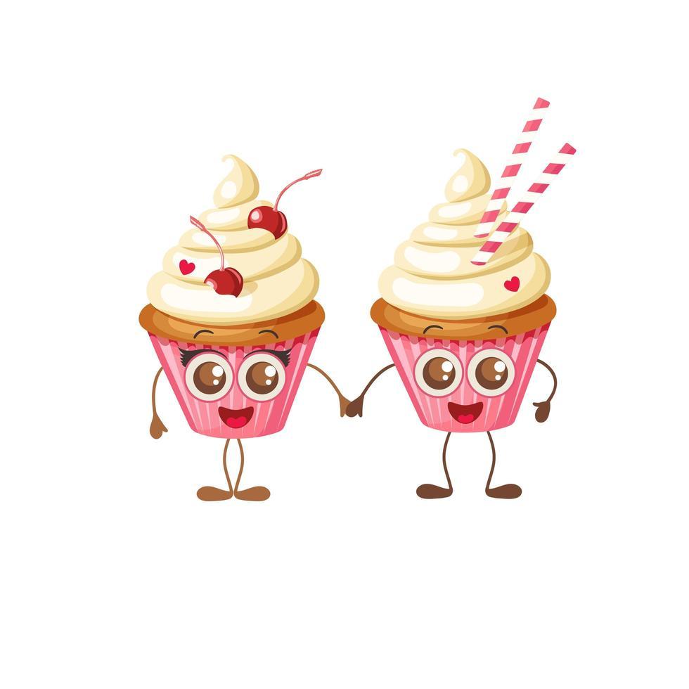 buon san valentino dolci cupcakes emoji tenendosi per mano vettore