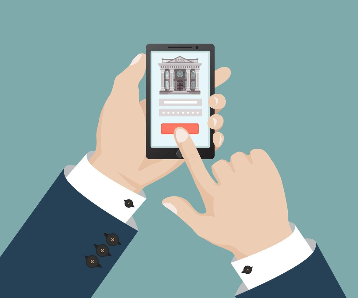 mobile banking touch screen vettore