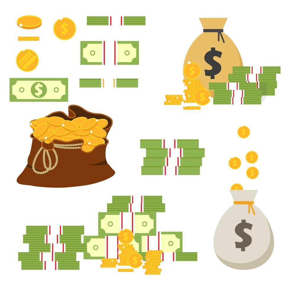 monete e banconote isolati su priorità bassa bianca vettore