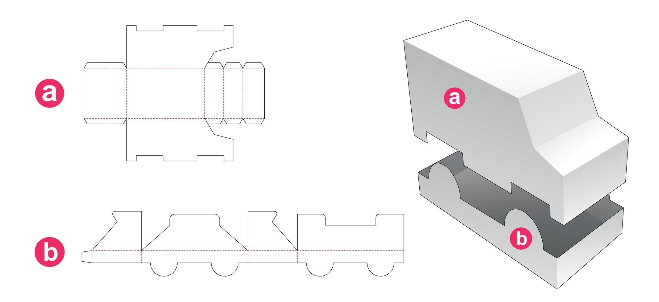 scatola e coperchio a forma di camion vettore