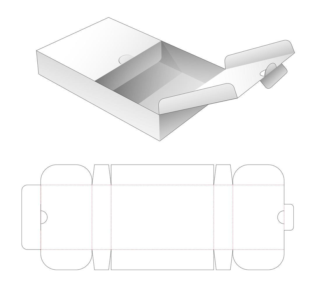 scatola a ribalta con punto di apertura centrale vettore
