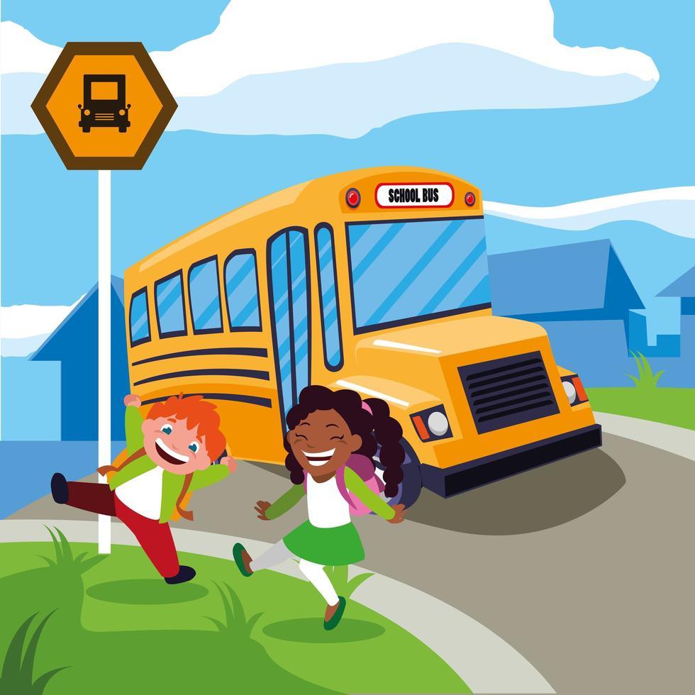 studenti felici e uno scuolabus vettore