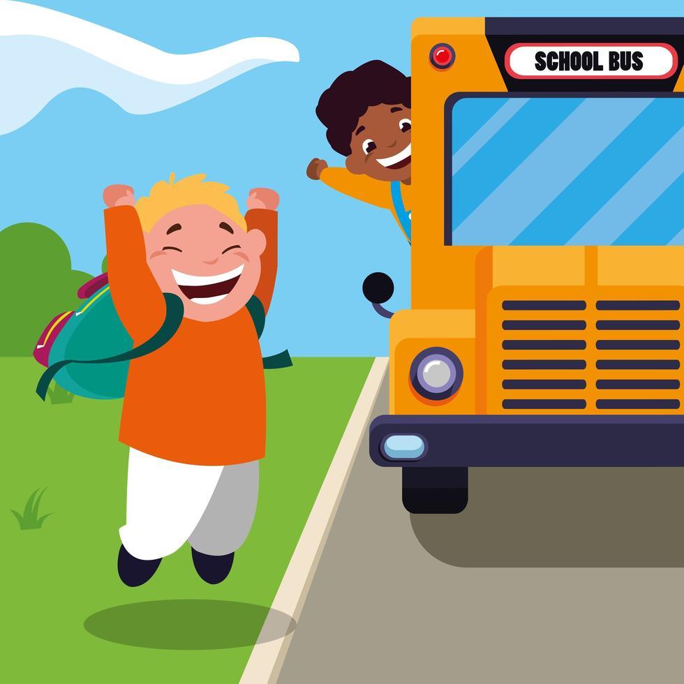 studenti gioiosi nella scena dello scuolabus vettore